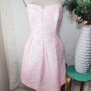 Anthropologie pink strapless dress